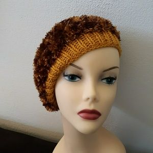 Gold and Brown faux fur hand knit beret